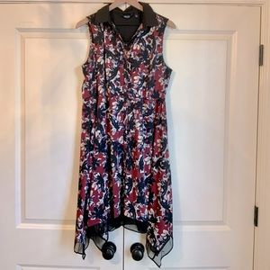 Simply Vera Dress-Black & Red Floral with Collar